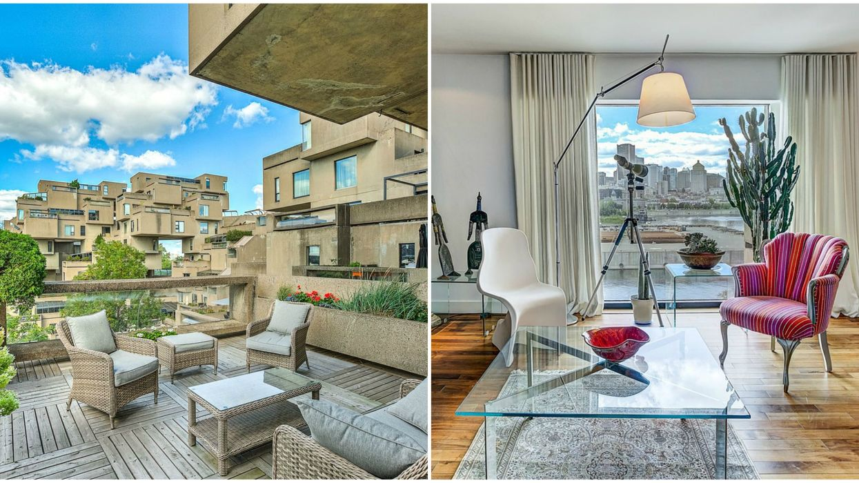 This Habitat 67 Condo For Sale Has 2 Decks & Stunning Views Of Downtown Montreal