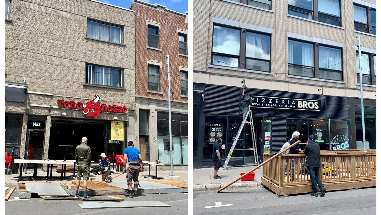 Rue Ste-Catherine Is Coming Back To Life As Restos Get Terrasses Ready To Open (PHOTOS)