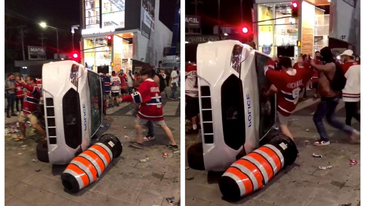 A Police Car Was Flipped & Its Windshield Was Smashed After Last Night's Habs Win (VIDEO)