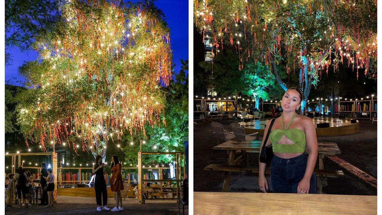 Montreal's Chinatown Has A Dreamy New Patio With A Wish Tree That Twinkles At Night
