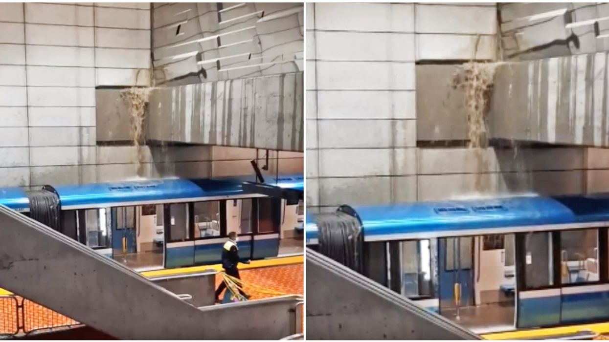 A Brown Waterfall Poured Into Montreal's Lionel-Groulx Station After A Pipe Burst (VIDEO)