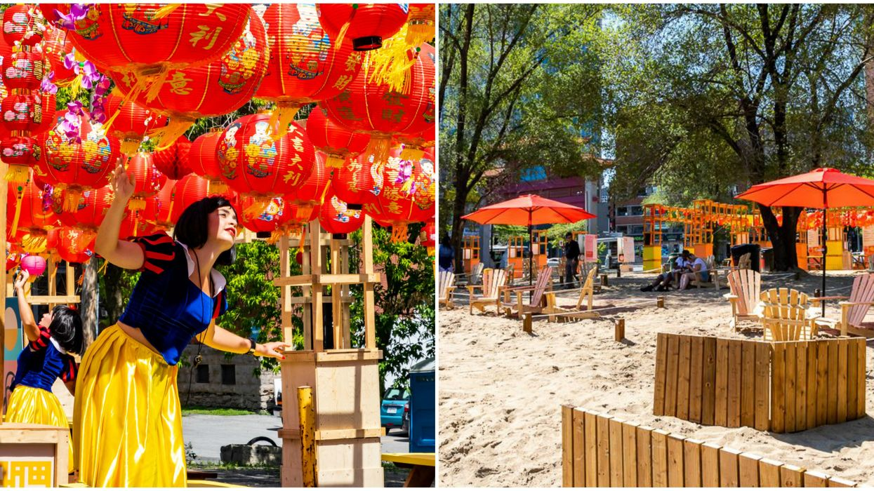 Montreal's Chinatown Has A Huge New Terrasse With An Urban Beach & Hanging Lanterns