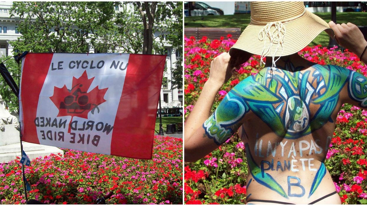 Montreal's Naked Bike Riders Bared All & Rolled Through Downtown In 33 C Heat (PHOTO)