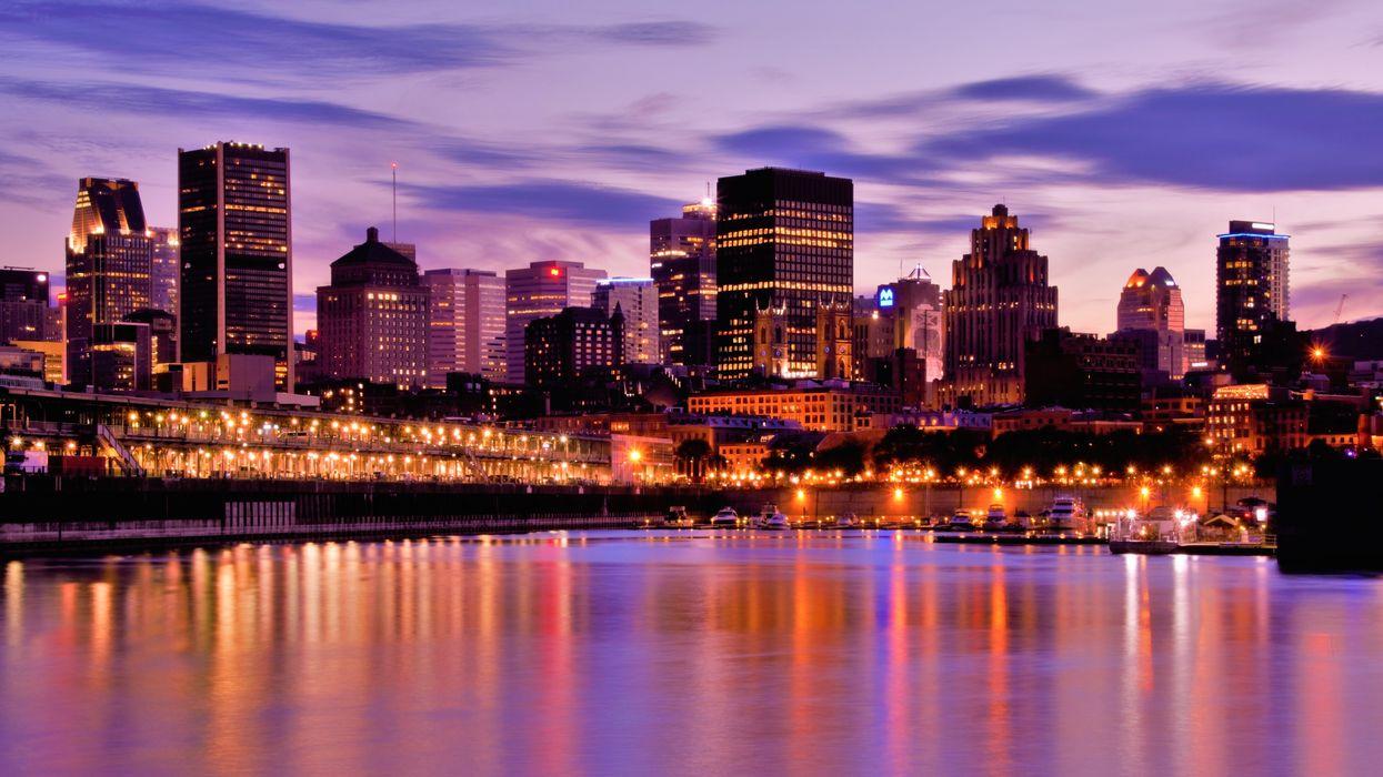Montreal skyline at dusk.