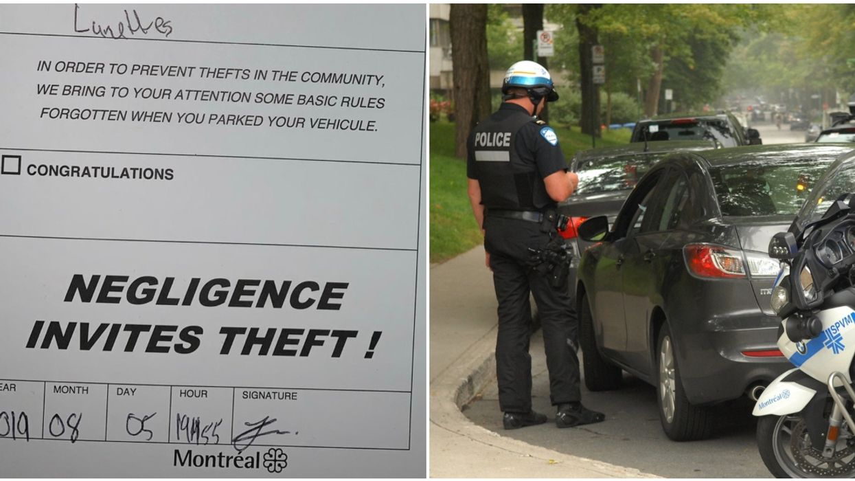 """Montreal Police Are Leaving Theft Warnings On Cars That """"Invite"""" Break-Ins (Photo)"""