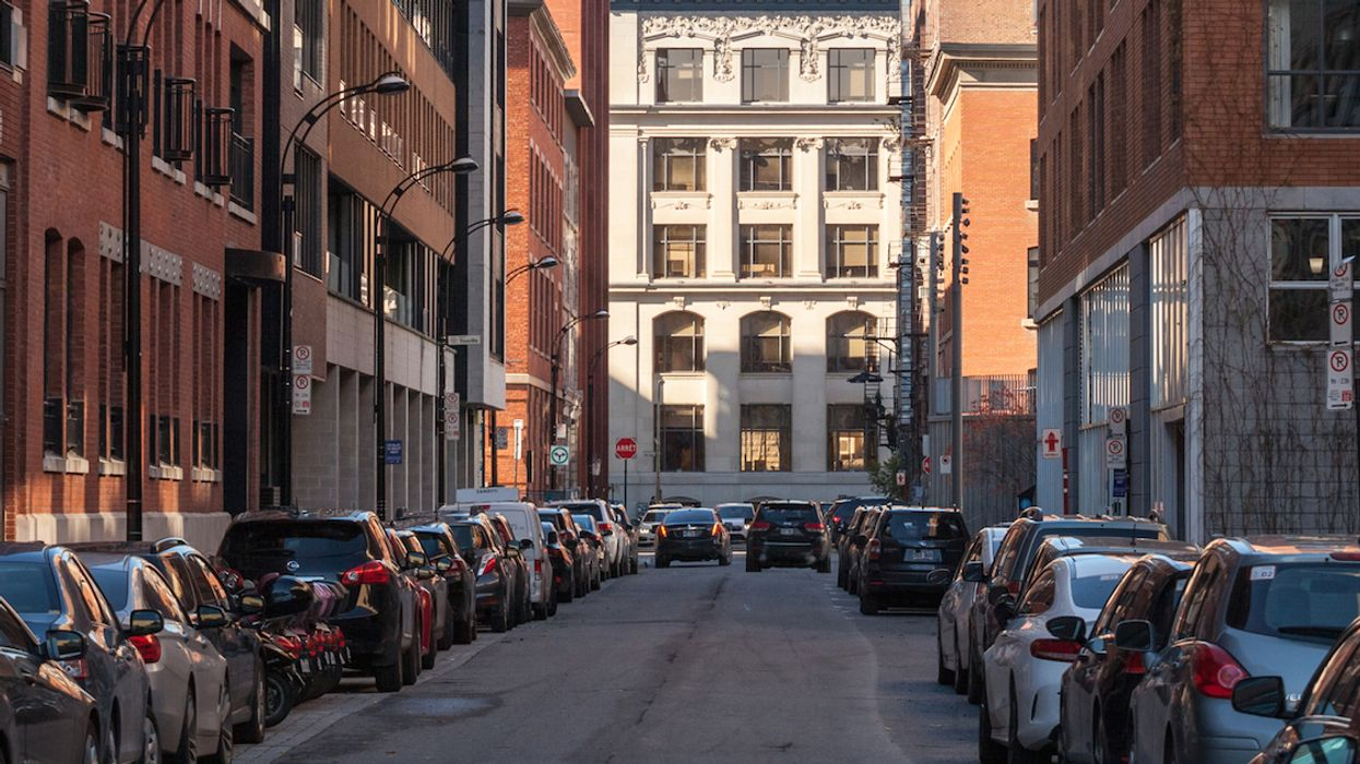Montreal street with parked cars.