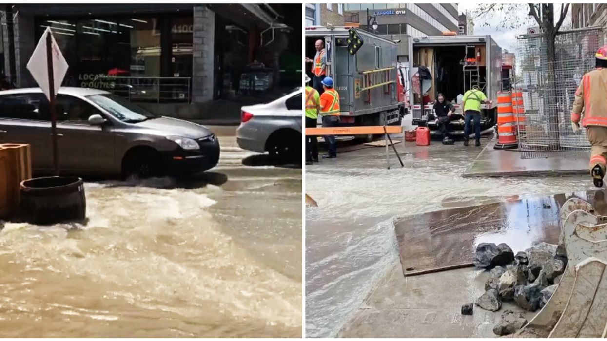 Flooding On St-Laurent Sends Water Rushing Through The Montreal Plateau (Video)
