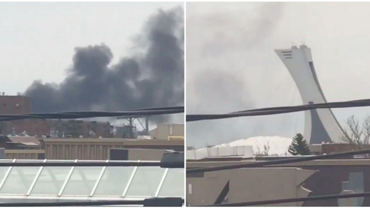 Montreal Fire Department Alert: Major 3-Alarm Fire Raging Near Montreal Olympic Stadium (Video)