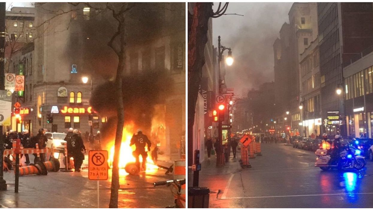 Shocking Footage Showing Rioters Rampaging Through Downtown Montreal
