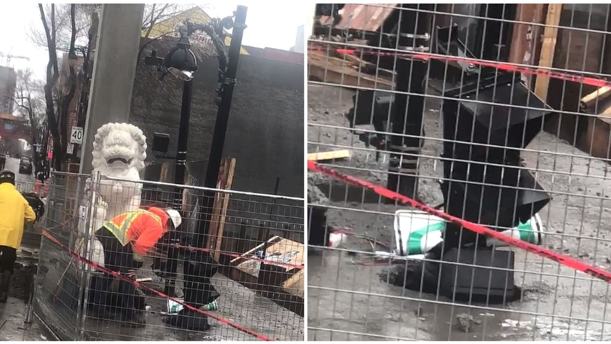 A Sinkhole In Montreal's Chinatown Has Shut Down Part Of Saint-Laurent