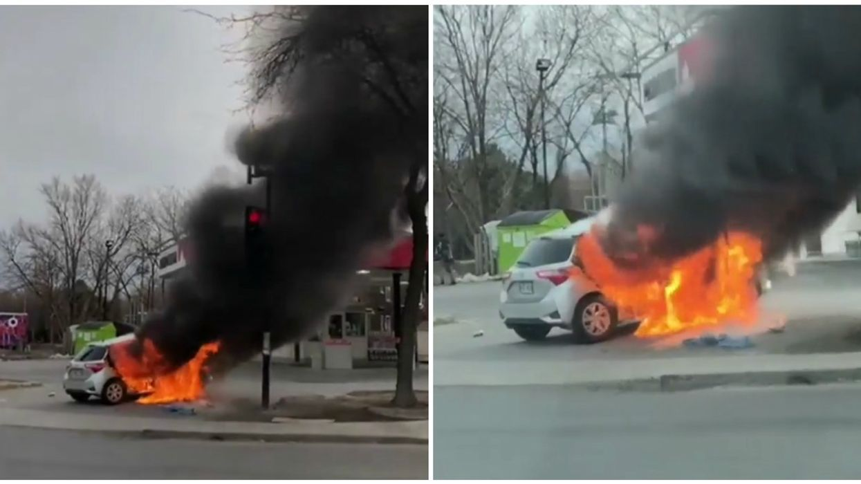 Massive Car Fire Near Lionel-Groulx Metro Station In Montreal (Video)