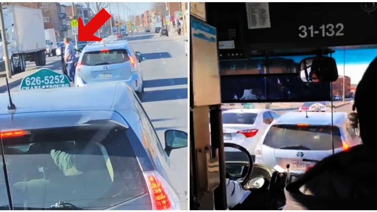 Video Of Montreal Taxi Drivers Abandoning Their Cars In The Streets And Blocking STM Buses