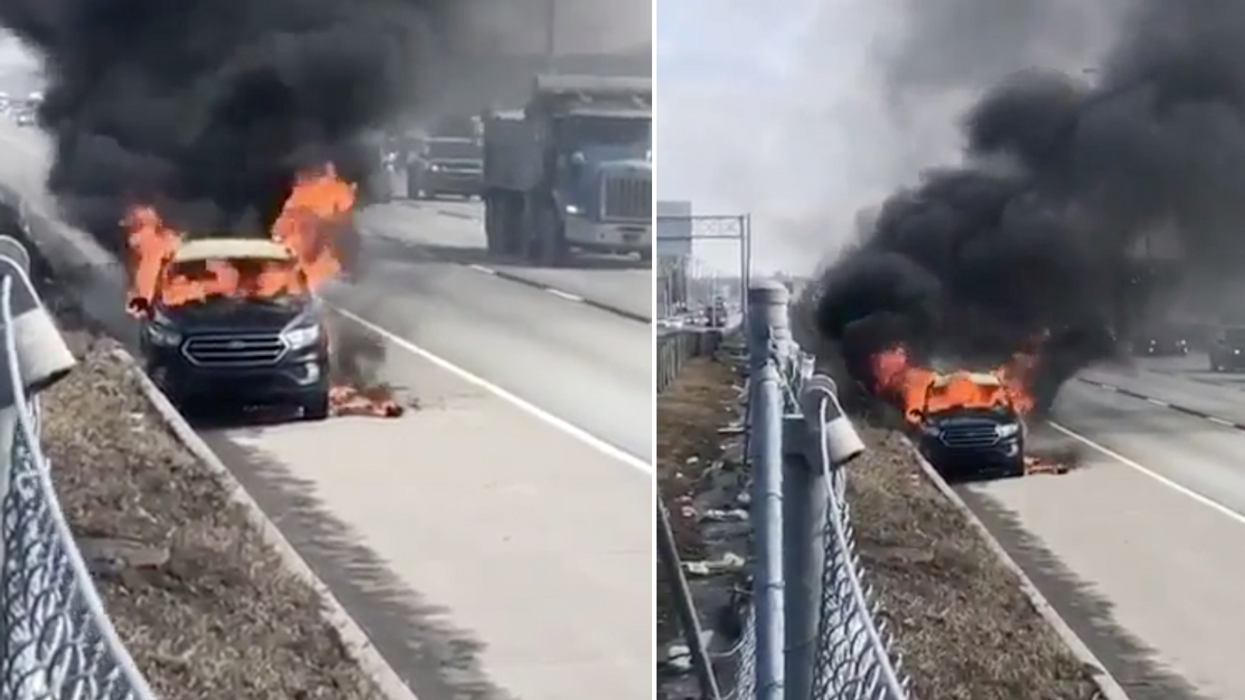 Video Shows Out Of Control Car Fire On Montreal Highway