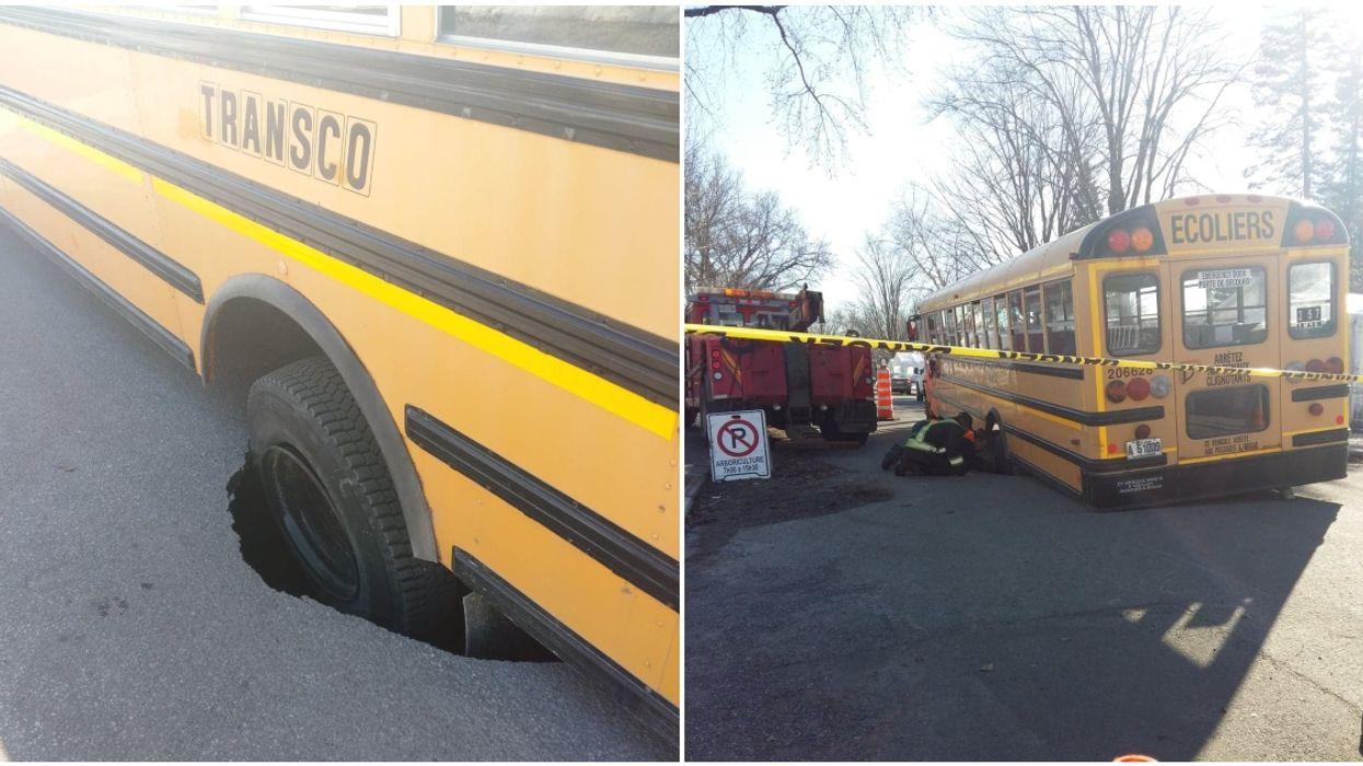 A Montreal School Bus Got Sucked Into A Giant Pothole (Photos)