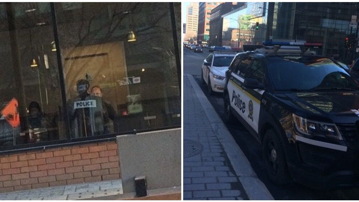 Quebec Police Caught Blocking A Bus Lane So They Could Grab Tim Hortons In Montreal