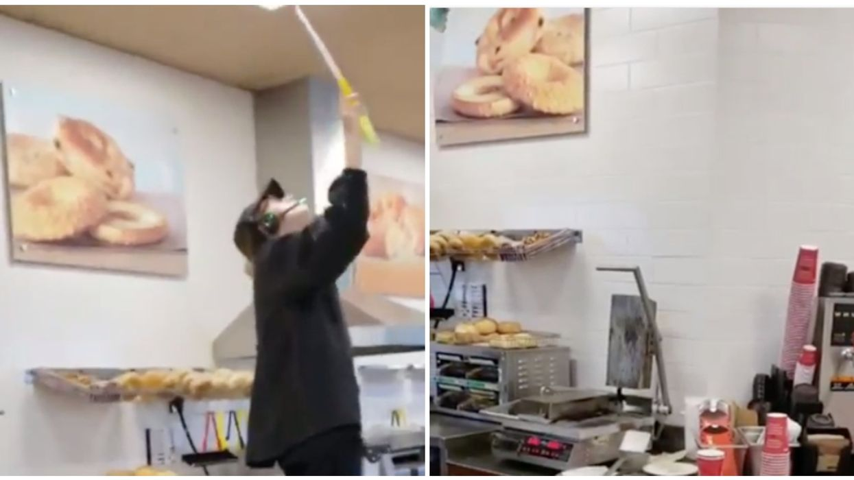 Video Showing A Tim Hortons Employee Dusting Vents Right Above A Rack Of Bagels