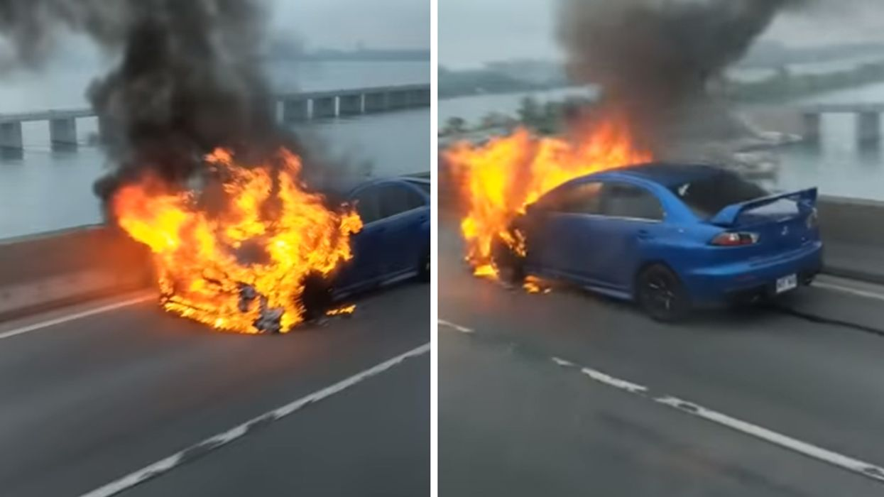 Video Showing Car On Fire On Montreal's Champlain Bridge This Morning