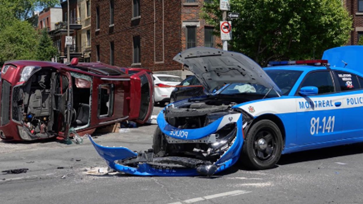 Montreal Police Completely Destroys Car In Crazy Accident