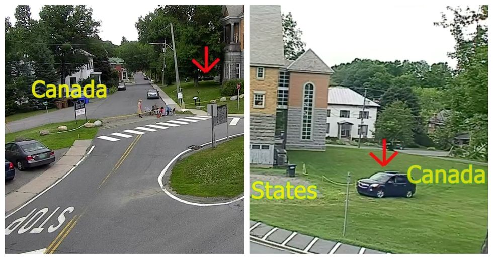 Video Shows A Car Crossing Into The U.S. From Quebec By Just Driving Across A Library Lawn