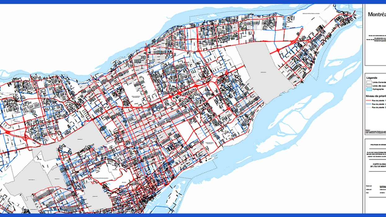 Montreal Map Showing Which Streets Will Be Plowed First