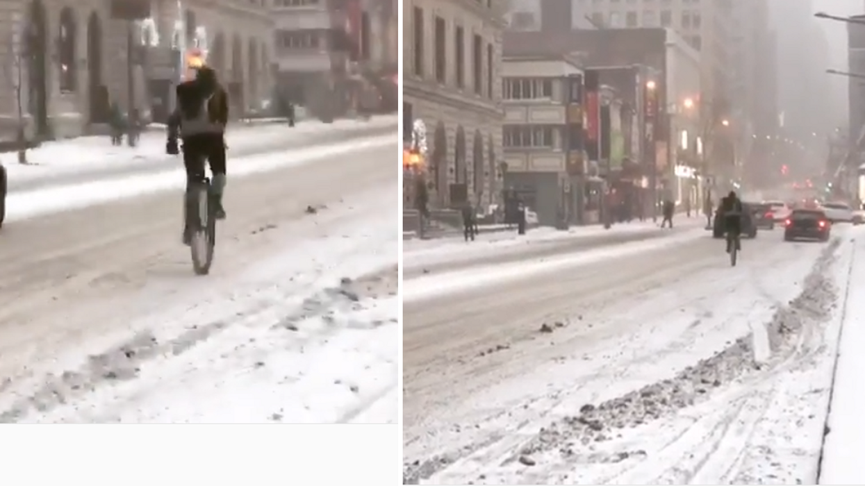 Video Showing Man Riding Unicycle Through Montreal Snowstorm