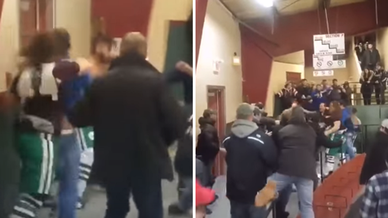 Quebec Hockey Players Get Into Savage Fight With Spectators (Video)