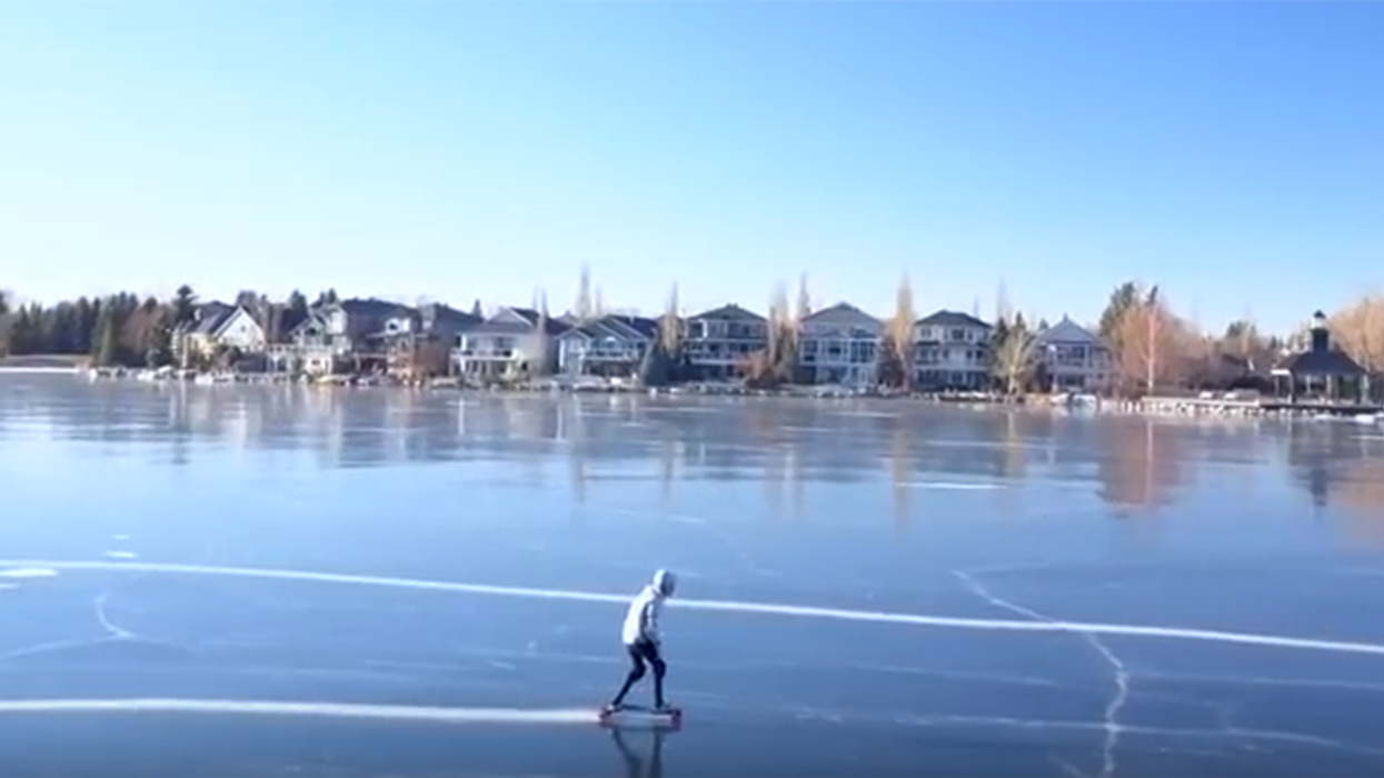 """Canadian Man Invents First-Ever """"Winter Skate-Board"""" To Shred Frozen Lakes"""