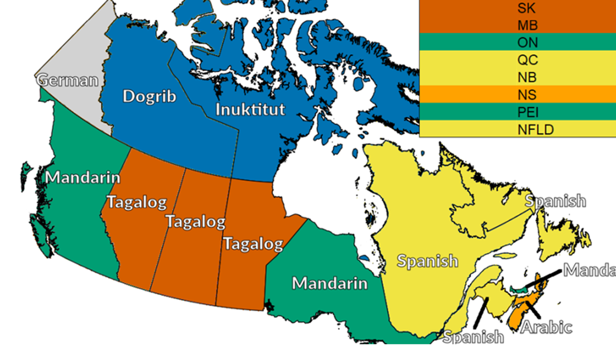 This Map Of Canada Shows The Most Common Spoken Language Other Than French And English