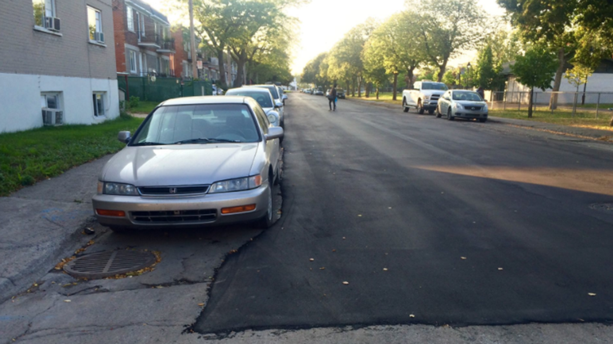 Montreal Construction Workers Pave Street Around Parked Cars... Again