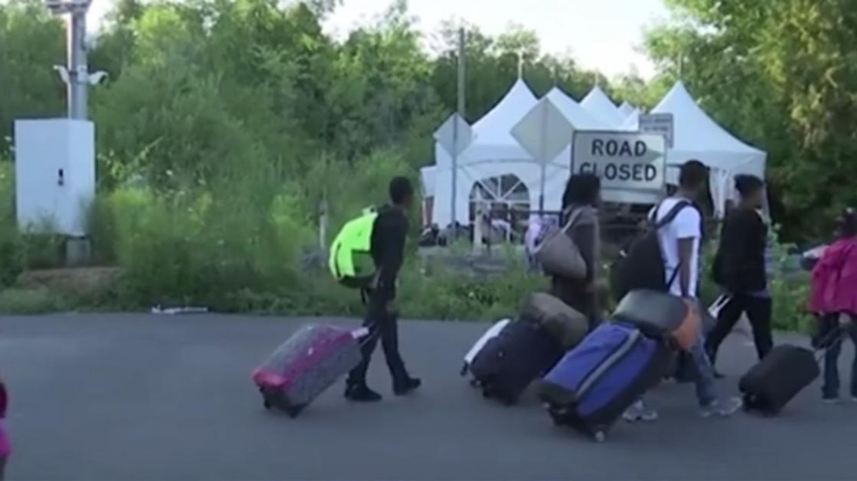 Video Showing Americans Illegally Crossing The Quebec Border To Escape Donald Trump