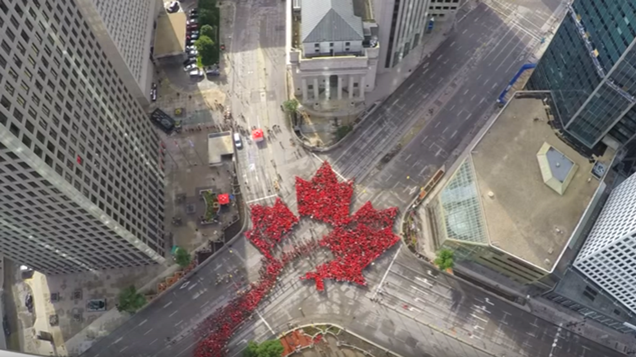 Canadians Created The World's Largest Human Maple Leaf (Video)