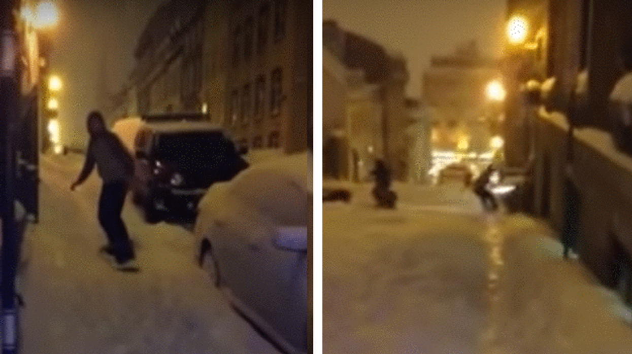 Video Showing Man Getting Hit By Car As He Snowboards Down Street In Quebec