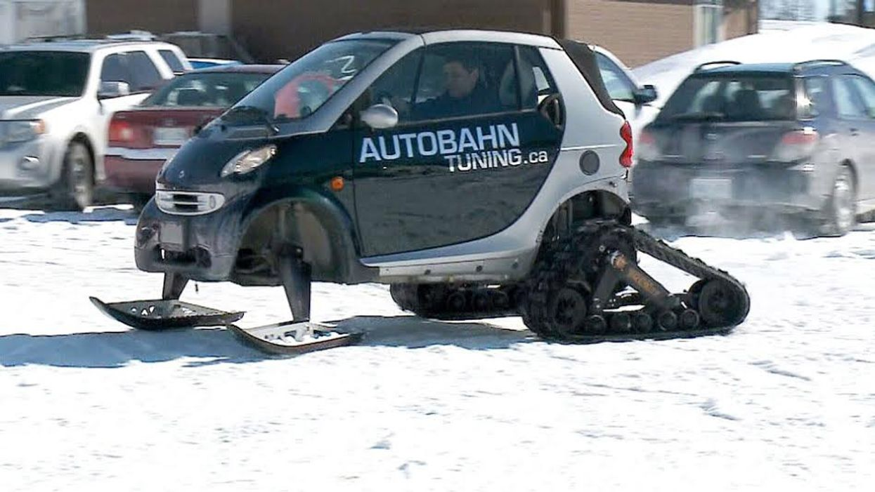 "Canadian Man Transforms His Smart Car Into A ""Snow-Car"""