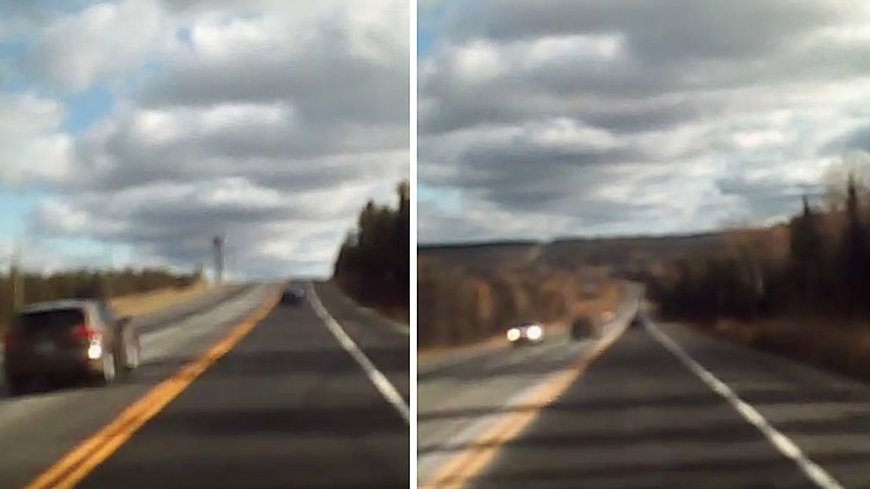 Crazy Driver Spotted Driving Into Oncoming Traffic On Quebec's Highway 117