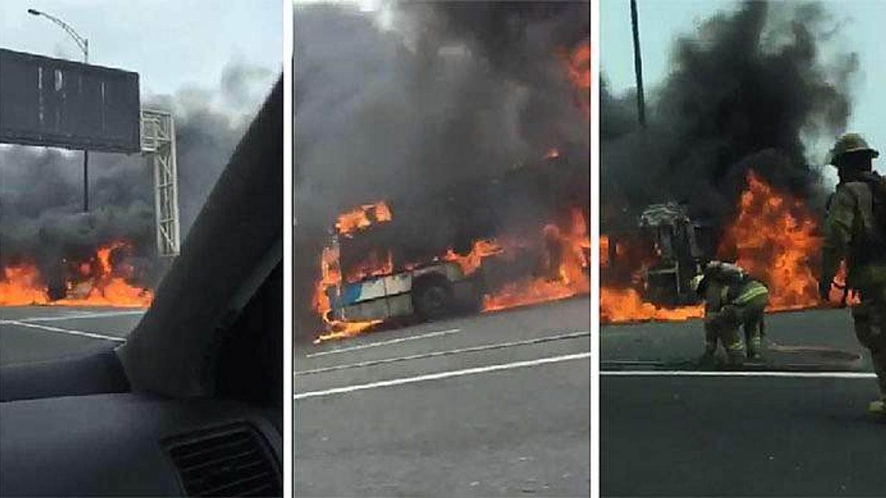 Exclusive Video Of Montreal STM Bus Engulfed In Flames On The Ville-Marie Expressway