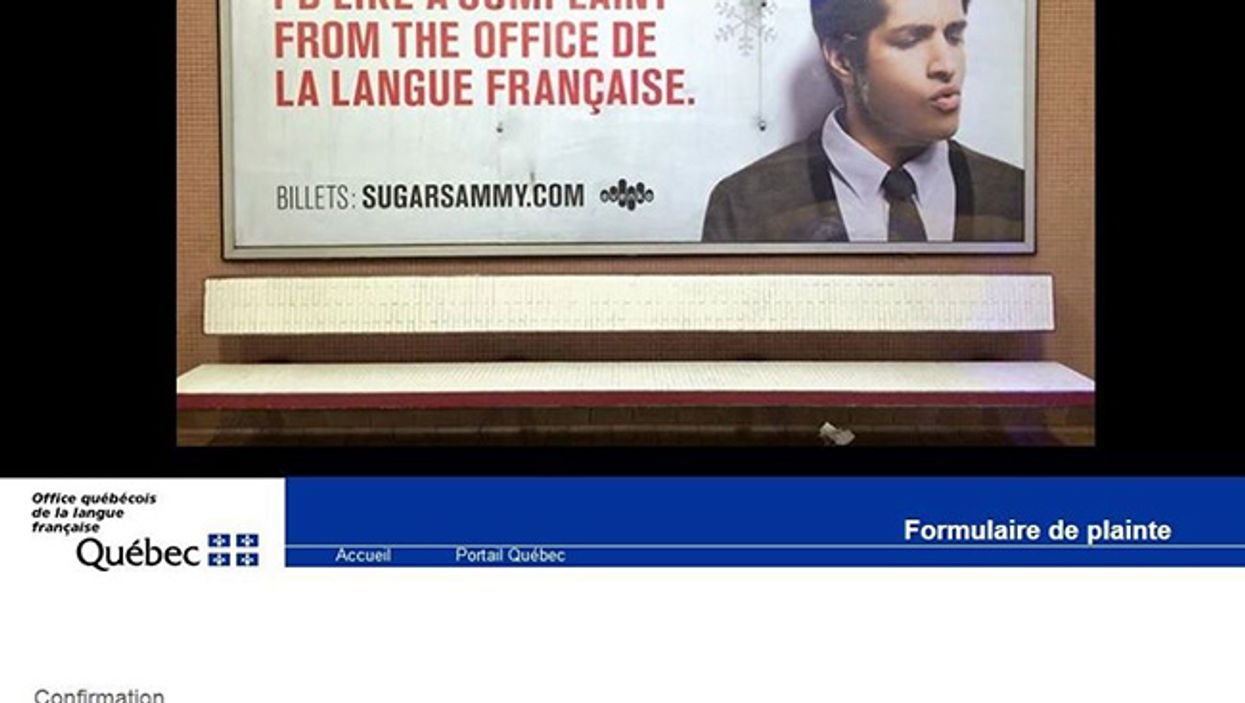 Sugar Sammy's New Ad In The Montreal Metro Says All He Wants For Christmas Is A Complaint By The OQLF