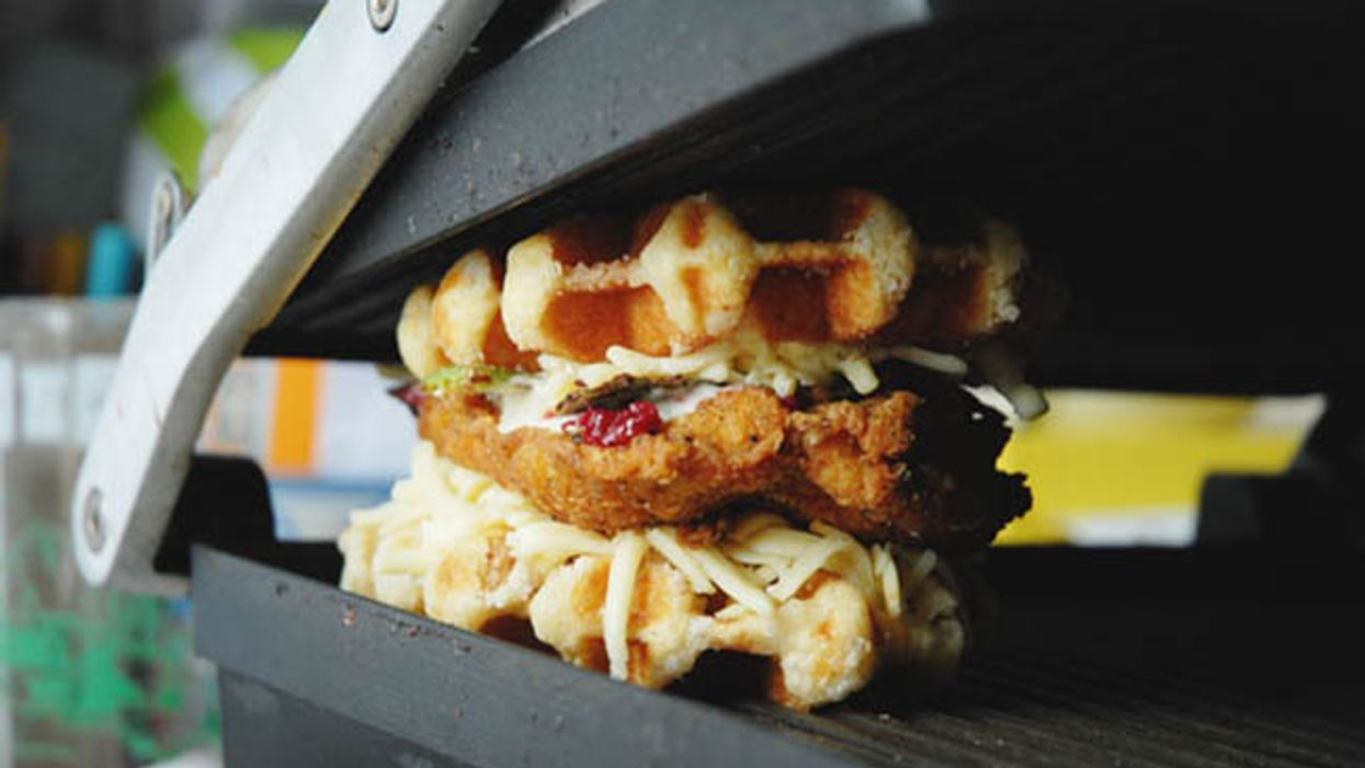 The Waffle Grilled Cheese & Fried Chicken Sandwich Is An Assault On Your Will Power To Eat healthy