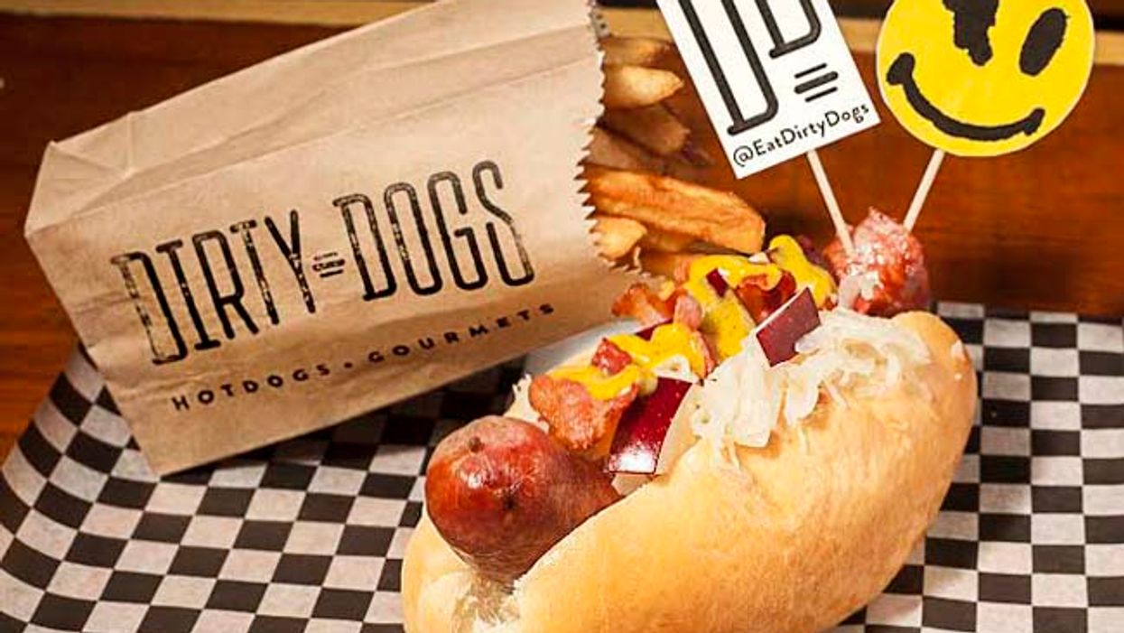 """Bacon + Red Apple Sauerkraut + German Beer Sausage = The Montreal Dirty Dogs """"Boys Noize"""" Dog"""
