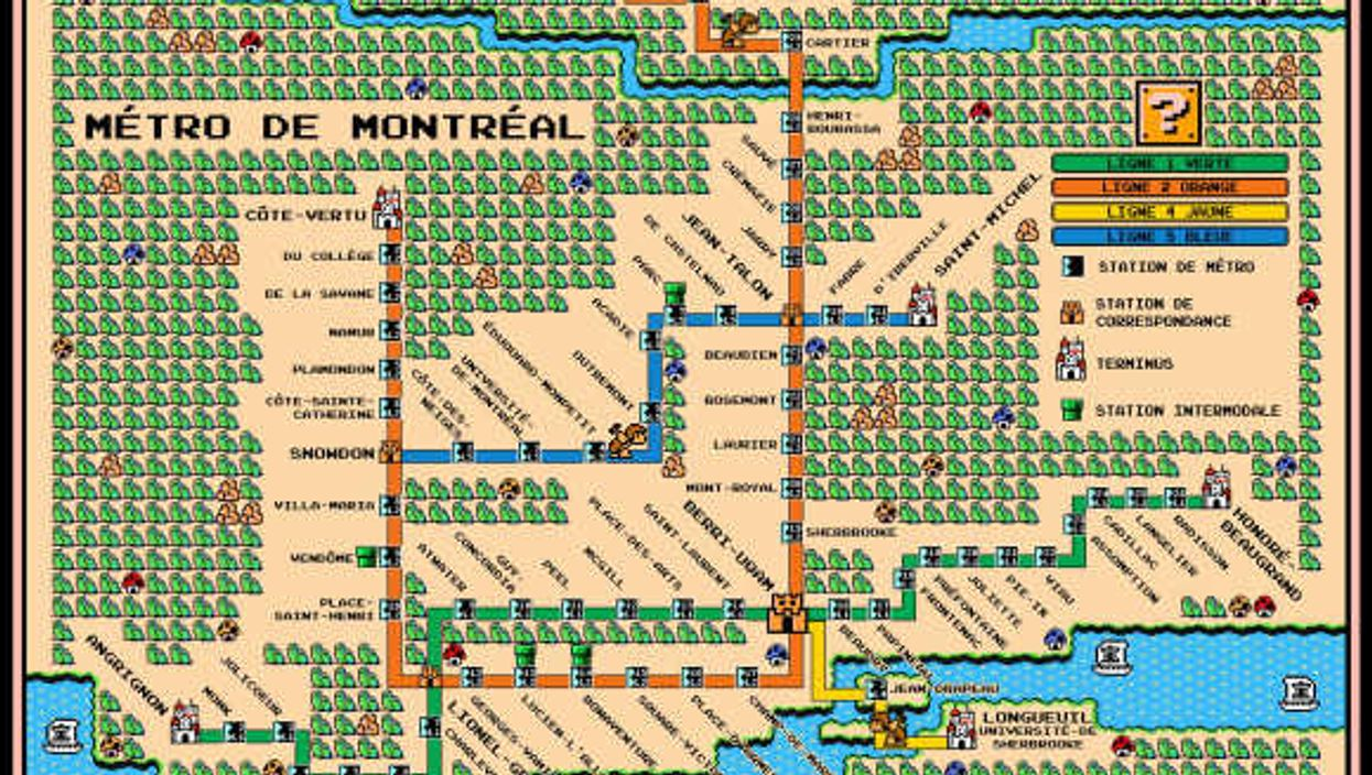 The Montreal Metro Map If It Were Super Mario 3