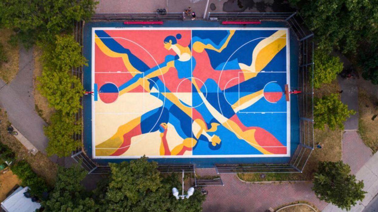 Montreal Basketball Court Gets Turned Into Urban Art Piece