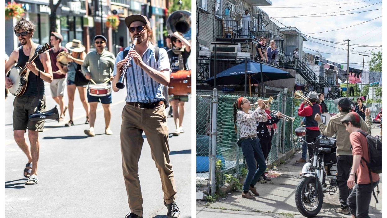 Fanfare de l'Île Roams Montreal Streets Playing New Orleans Jazz