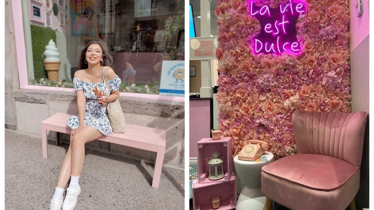 This New Montreal Dessert Spot Has A Pink Terrasse & Churro Ice Cream Sundaes (PHOTOS)