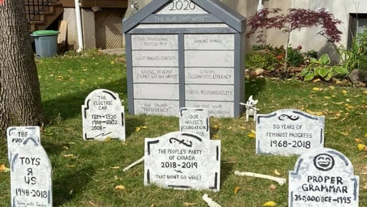 Montrealers Made A Hilarious Halloween Graveyard Of Everything 2020 Killed & It's Too Real