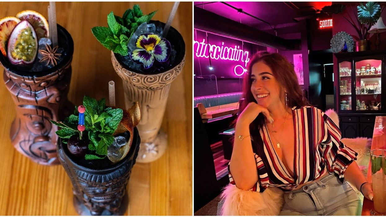 This New Tropical Glam Bar In Montreal Serves Your Drinks In Tiki And Peacock Glasses
