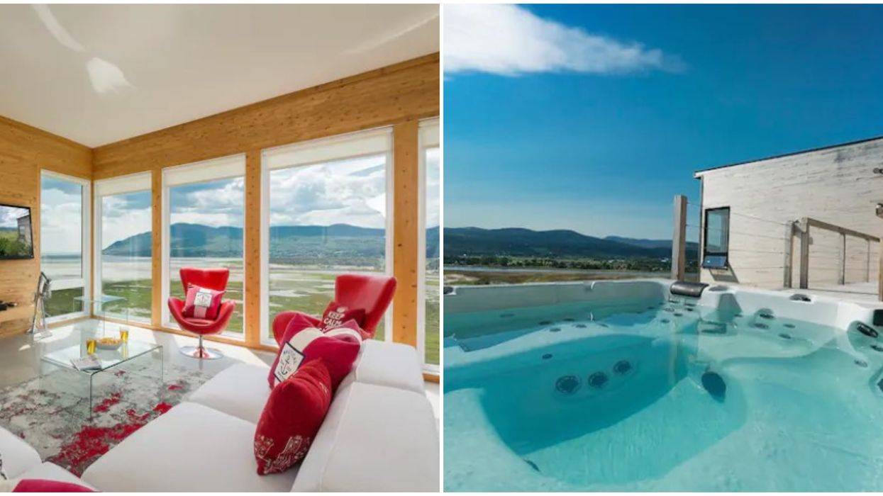 You & Your Crew Can Soak Up Mountain Views From A Hot Tub At This Quebec Airbnb