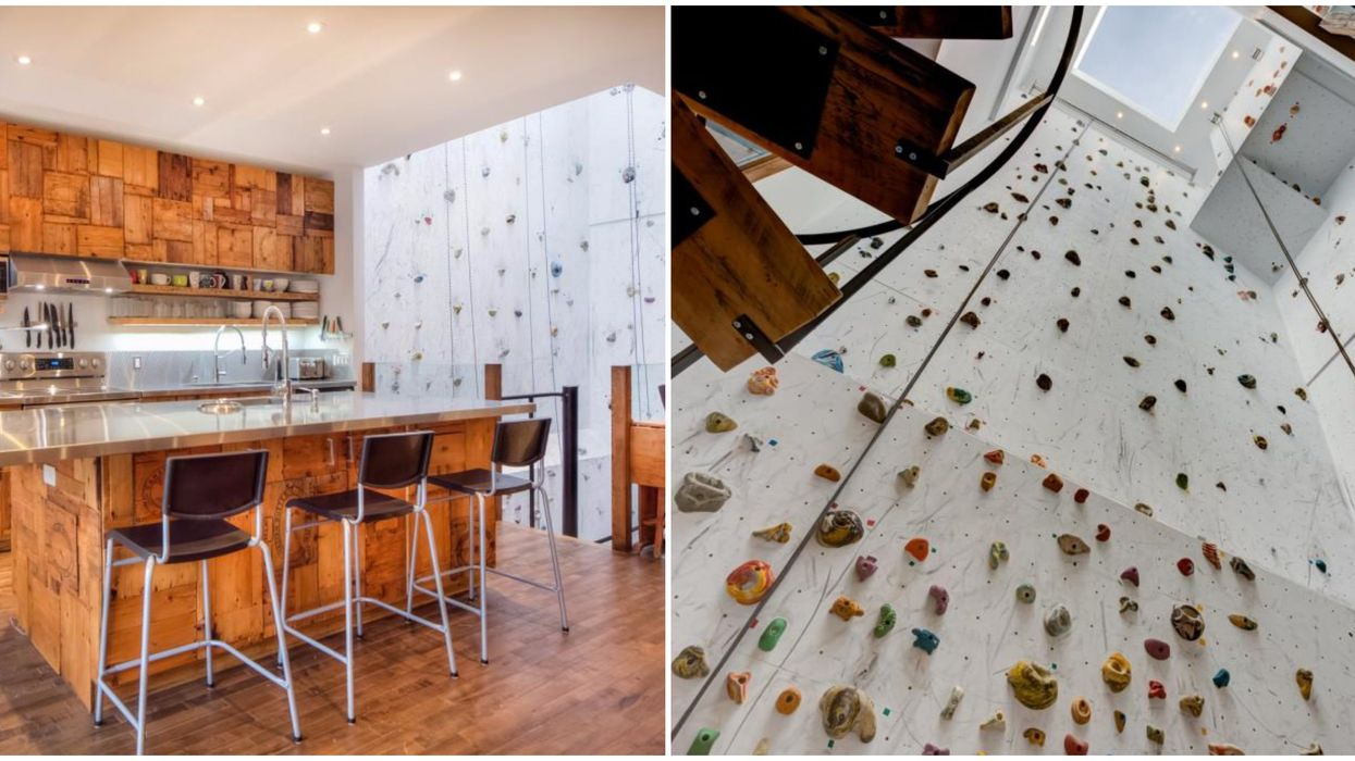 This Montreal Condo For Rent Has A Rock Climbing Wall That You Can See From The Kitchen