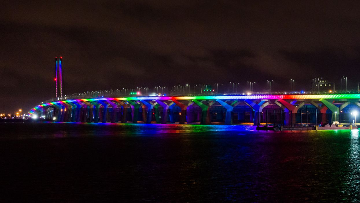 The Champlain Bridge Spread Positivity With Its Rainbow Lights Last Night