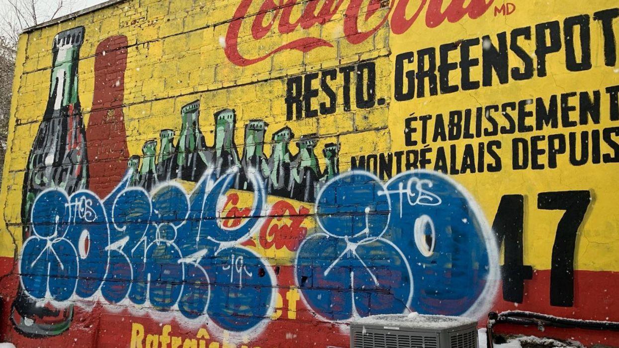 Vandals Have Defaced Montreal's Iconic Greenspot Restaurant Mural In Saint-Henri