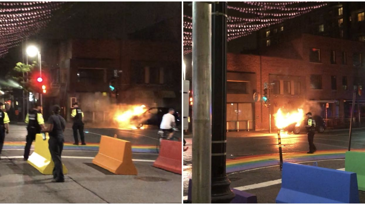 """Video Shows Yet Another Car Fire In Montreal, This Time In The Gay Village Under The """"Rainbow Balls"""""""