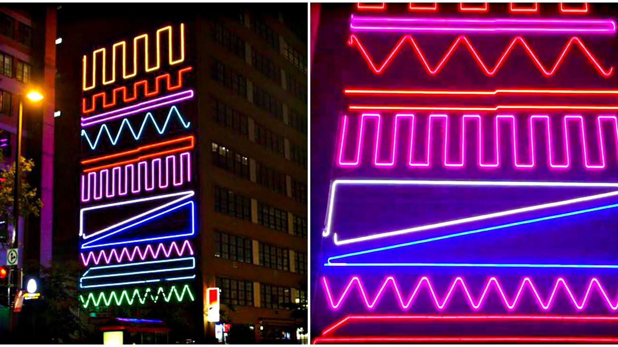 Montreal's Giant New Glowing Neon Mural Has Become One Of The Coolest Spots In The City (Photos)